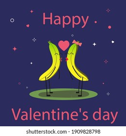Happy Valentine's day. Two kissing bananas. Two bananas in love. Funny fruits. Bananas lovers