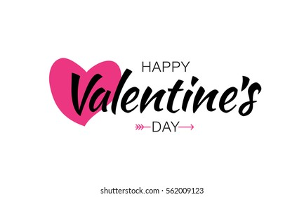 Happy Valentines Day Typographic Lettering isolated on white Background With Pink Heart and Arrow Vector Illustration of a Valentine's Day Card.