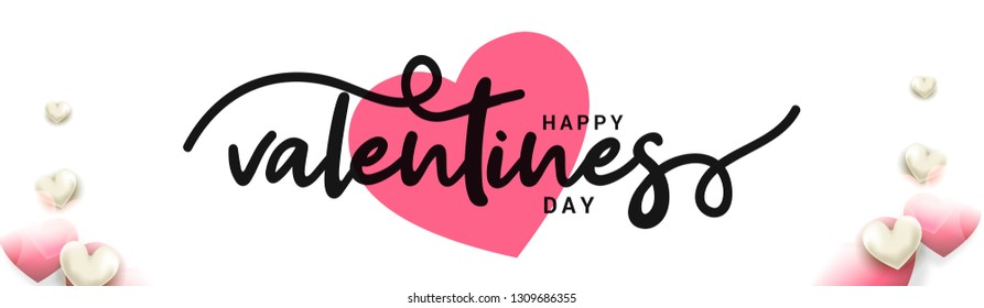 Happy valentines Day typography design with heart pattern elements.poster,banner.