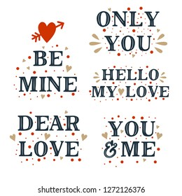 Happy valentines day. Typography font on white background. Vector illustration