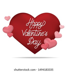 Happy Valentines day typography with hearts - vector