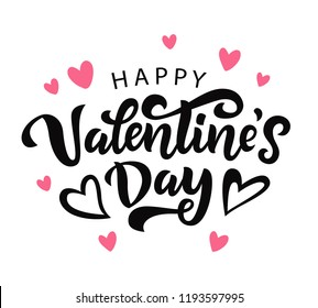 Happy Valentines Day typography poster with handwritten calligraphy text, isolated on white background. Vector Illustration