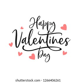 Happy Valentines Day typography poster with handwritten calligraphy text, isolated on white background. Vector Illustration - Vector