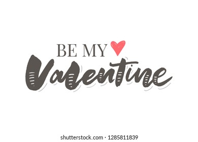 Happy Valentines Day typography poster with handwritten calligraphy text, isolated on white background. Vector Illustration slogan