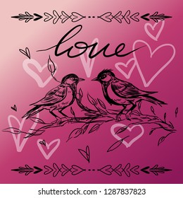 Happy Valentines Day typography poster with handwritten calligraphy text isolated on background. Vector illustration - Vector. Added leaf and leaf design elements and a pair of birds in love.