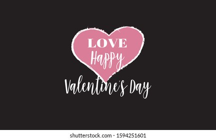 Happy Valentine's Day typography poster with handwritten calligraphic text.