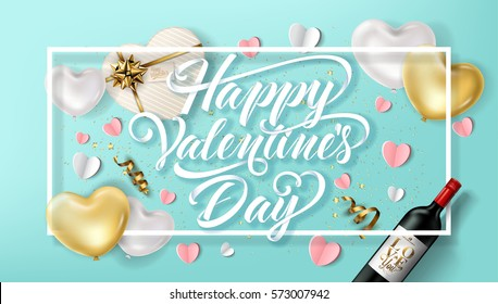 Happy Valentines Day typography poster with handwritten calligraphy text with balloon hearts and wine