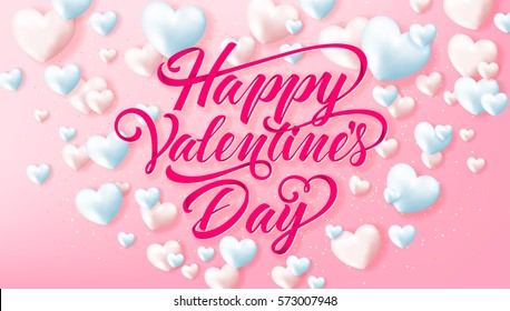 Happy Valentines Day typography poster with handwritten calligraphy text on pint background