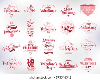 Happy Valentines day typography set. Vector text design. Usable for banners, greeting cards, gifts etc. 14 february