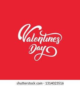Happy Valentines Day typography text with red background