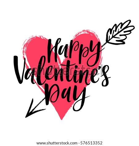 Happy Valentines Day Vector Card Hand Stock Vector Royalty Free