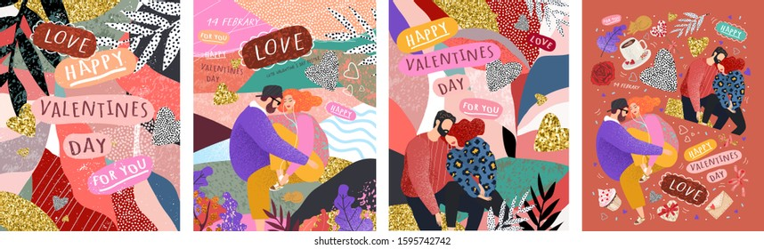 Happy Valentine's Day! Vector cute illustrations of a couple in love for background, card or poster. Abstract trendy modern print for the holiday.