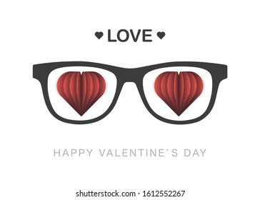 Happy Valentines Day vector design with 3d realistic paper hearts decorations in gray glasses on white background. Love. Vector illustration.