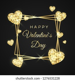 Happy Valentines day vector greeting card. Golden frame, heart and text on black background. Gold holiday banner. Concept for Valentines banner. Vector illustration isolated on black background