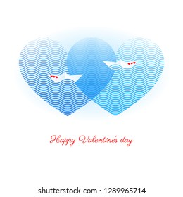 Happy Valentines day vector greeting card with two paper boats decorated with red hearts floating on blue waves