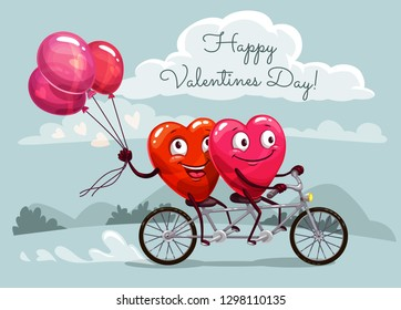 Happy Valentines Day vector greeting card with couple of loving hearts with red balloons riding bicycle. Romantic love holiday celebration design