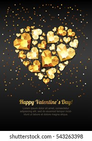 Happy Valentines day vector greeting card. Gold gem heart on black background. Golden holiday poster with diamonds, jewels. Concept for Valentines banner, flyer, party invitation, jewelry gift shop.