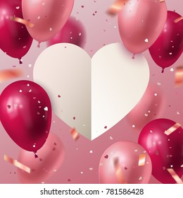 Happy Valentine's Day. Vector holiday illustration of flying red and pink balloons, white paper cut heart banner and heart shape confetti. 14 February festive decoration. Vector Stock illustration