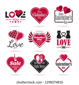 Happy Valentines Day vector icon set