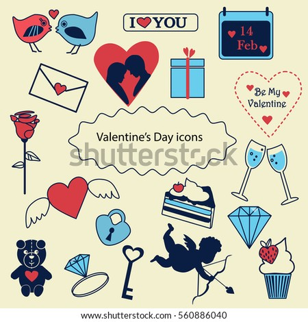 Happy Valentines Day Vector Icons Stock Vector Royalty Free