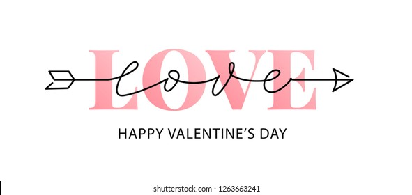 Happy Valentines Day. Vector illustration isolated on white background. Hand drawn text lettering for Valentines Day greeting card. Calligraphic design for print cards, banner, poster