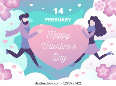 Happy Valentine's Day. Vector illustration. Design element for greetings, banners, flyers or posters. Happy couple in love holds heart with inscription. Background with clouds and flowers. Flat style.