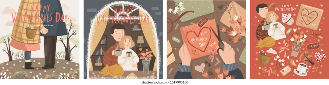 Happy Valentine's day! Vector illustration for the spring holiday of love - February 14th. Drawings of couple with coffee. Home by the window, kissing on a date and creating a heart on the table.