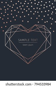 Happy Valentine's Day. Vector modern card with rose gold geometric heart and confetti