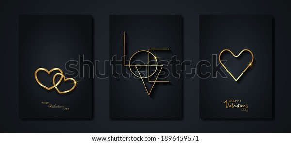 Happy Valentines day vector set greeting card. Gold heart on black background. Golden holiday poster with text, jewels. Concept for Valentines banner, flyer, party invitation, jewelry gift shop