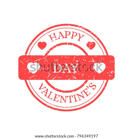 Happy Valentines Day Vector Stamp Isolated on Light Background. Red Sign with Text and Heats. Vector Illustration of Grunge Rubber Stamp.