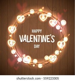 Happy Valentine's Day Vector Wood Card. Pink Bokeh Background. Glowing Lights Wreath for Love Holiday Greeting Card Design. Wooden Hand Drawn Background