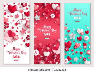 Happy Valentine's Day vertical banners set. Vector illustration. Holiday brochure design for corporate greeting cards, love creative concept, gift voucher, invitation. Place for your text.
