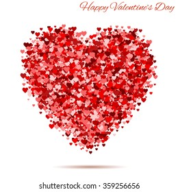 Happy  Valentines day vintage red heart with hearts. template for greeting and postal card. Vector background illustration