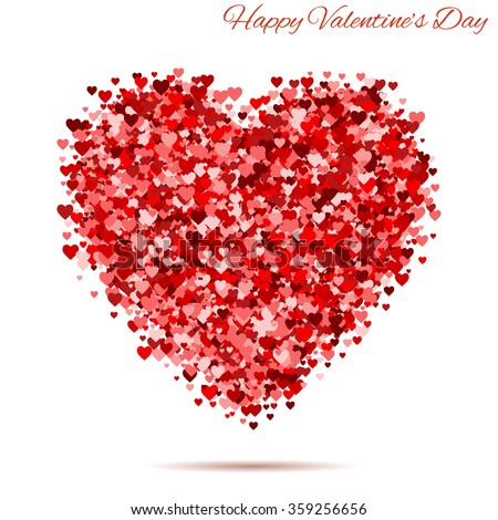 Happy Valentines Day Vintage Red Heart Stock Vector Royalty Free