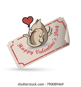 Happy Valentine's Day vintage ticket - Dog and cat with heart