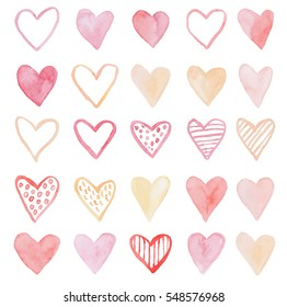 Happy Valentines Day watercolor heart background vector illustration.