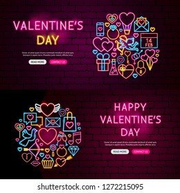 Happy Valentine's Day Website Banners. Vector Illustration of Love Promotion.