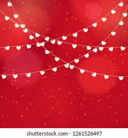 Happy valentines day and wedding design elements. Red Background With Ornaments, confetti Hearts, lights. Be my Valentine.