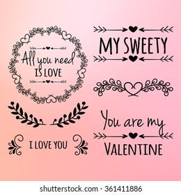 Happy valentines day and weeding design elements. Vector illustration invitation, menu, flyer, template. Pink, red Background With Ornaments, Hearts. Doodles and curls. Be my Valentine. Love.