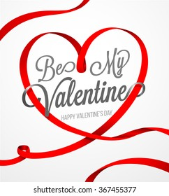Happy valentines day and weeding design elements. Happy Valentines Day card vector illustration. Heart vector ribbon