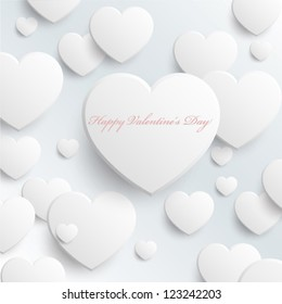 Happy Valentine's Day - White Hearts