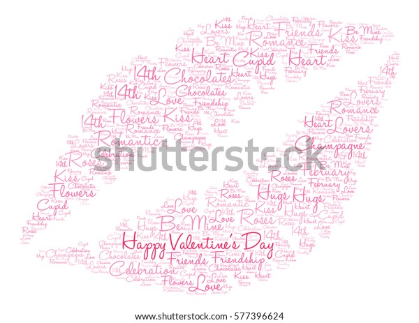 Happy Valentines Day Word Cloud On Stock Vector (Royalty
