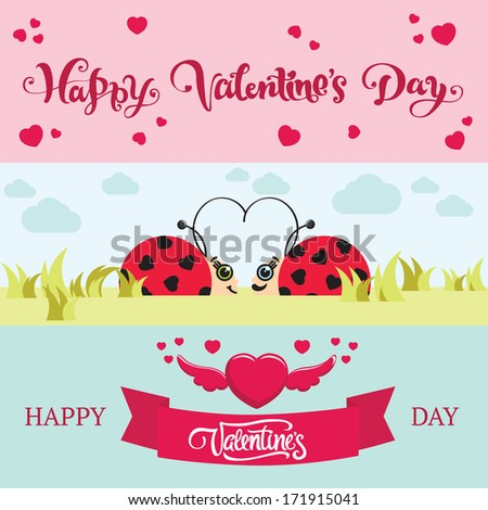 Happy Valentines Day Words Lettering Cute Stock Vector Royalty Free