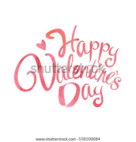 Happy Valentines Day Words Phrase Lettering Stock Vector Royalty