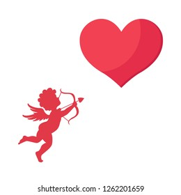Happy valentines day,Cute cupid with a heart