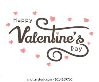 Happy Valentines Days with grunge paint design text pink heart, White background Vector Illustration