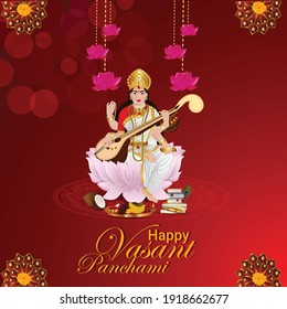 Happy vasant panchami with Goddess Saraswati illustration