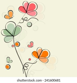 Happy Vasant Panchami, Hindu community festival celebration greeting card decorated by colorful flowers and butterflies.