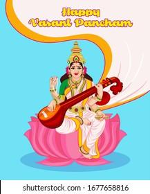 Happy Vasant Panchami Indian festival, Goddess  Maa Saraswati vector.