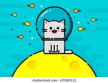 Happy vector emoticon cat with fish underwater. Colorful flat line emoji picture.